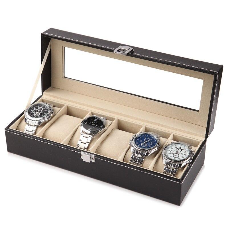 2/6/10 슬롯 가죽 시계 스토리지 박스 주최자 새로운 기계식 시계 디스플레이 홀더 케이스 블랙 쥬얼리 선물 상자 케이스