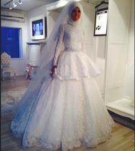 Top Quality Kaftan Abaya Bridal Gown High Collar Long Sleeve Vestidos De Novia Long Lace Islamic Muslim Wedding Dress Newest