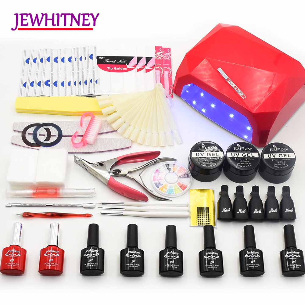 36W LED Lamp Nail Manicure Set 10ML 6 Colors UV GEL Polish Nail Kit UV Extension Builder Gel Set Nail Art Tool Manicure Kit