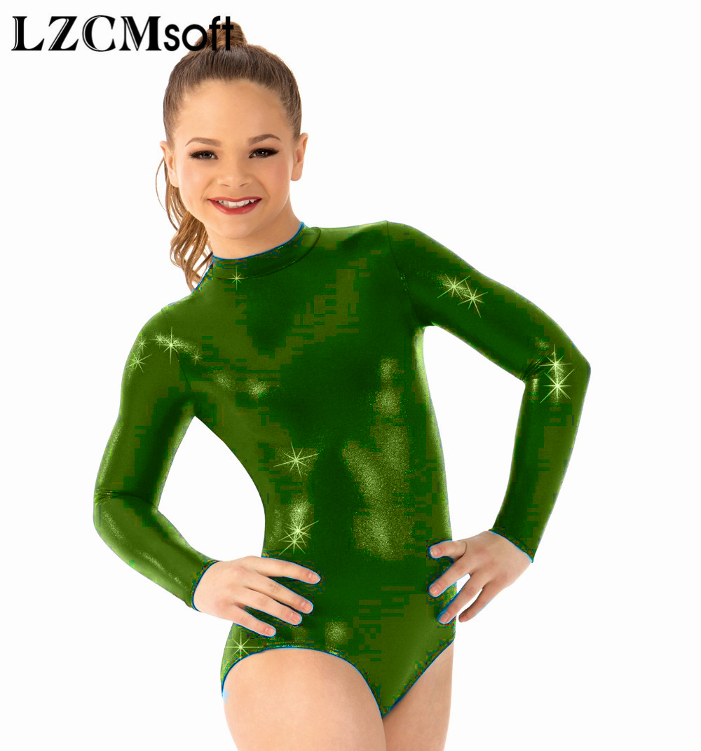 00a7095f1e5 LZCMsoft Child Long Sleeve Ballet Dance Leotards Shiny Metallic Gymnastics  Dancewear Girls Toddler Mock Neck Ballroom Costumes