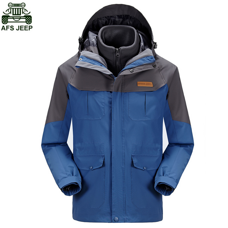 AFS JEEP Brand Outdoor Camping Hiking Clothing Hunting Clothes Hoodie Rain Winter Jacket Men Windstopper Thermal Coat Waterproof