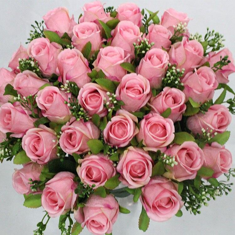36 têtes fleurs artificielles roses fleur YOOSA faux soie fleurs simulation rose pour mariage décorations pour la maison mariée bouquet rose