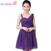 Линия короткая одно плечо Формальные шифон подростков deep purple нарядные платья до колен лето аппликации платье h1324