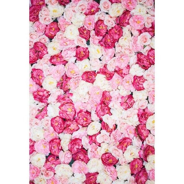 8x8ft Indoor Bianco Antico Profonda Fiori Rosa Muro Personalizzato