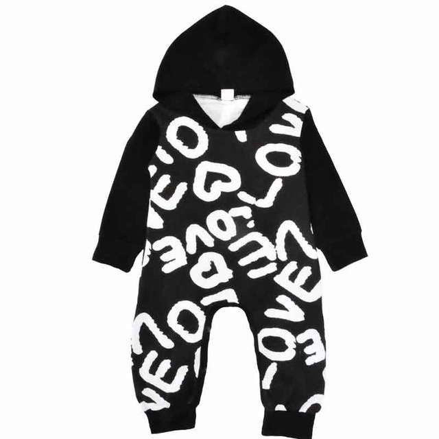 5a2f4117766d New Baby Boy Girls Clothes Winter Fall Long Sleeve Baby Girls Jumpsuit Cute  Letter Printed Newborn Outfit Baby Suit with Hat