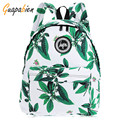 Guapabien Fashion 2016 Portbale Preppy Style Leaf Print Backpack Women Green Canvas Bagpack School Girls Retro Casual Travel Bag