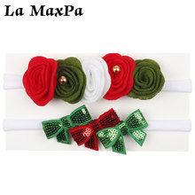 2 Pcs/set Christmas baby Headband with Flowers Sequin Hair Bows Felt Bowknot Nylon Band Girls Accessories