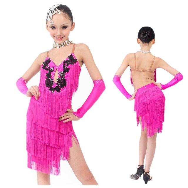 fdb20d358dac9 € 103.63  Nouveau Haut de gamme Sexy Flexible Glands Rose rouge Enfant Robe  De Danse Latine, Salsa/Rumba/Samba/Chacha/Salle De Bal Costume de ...