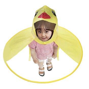 Impermeable UFO niños Pvc impermeable pato del bebé capa de lluvia paraguas transparente lluvia Poncho primaria boy sombrero de lluvia