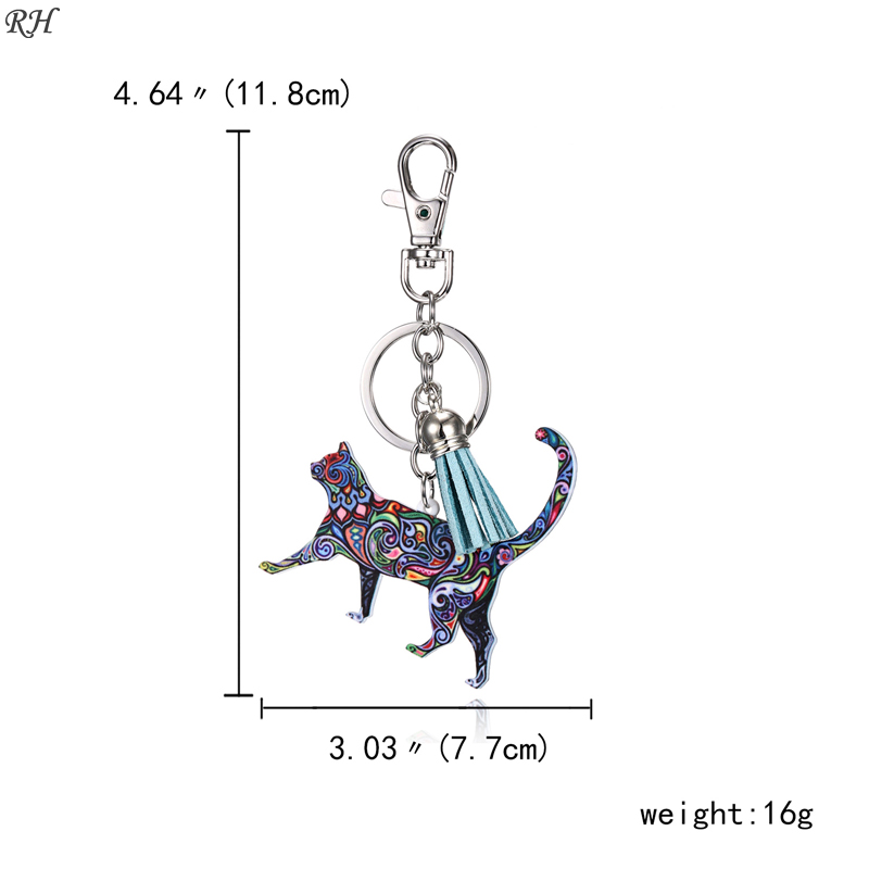 Acrylic Tassel Animal Key Chain Keychain Dog Horse Pig Cat Pendant Holder Key Ring Keyring Bag Charm Jewelry For Women Gifts