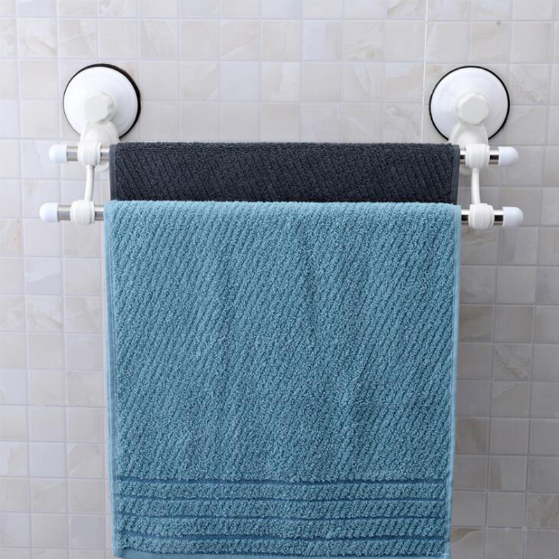 Shuang Qing Home Reside Powerful vacuum suction cup towel rack Stainless steel double rod 40cm can be used repeatedly 1807