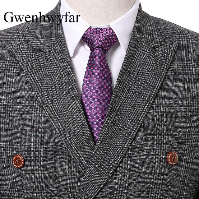 Online Shop 2018 New Double Breasted Tweed Men Suits Plaid Terno ...