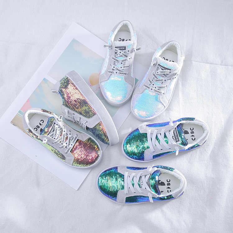 Осенняя повседневная обувь для маленьких девочек, обувь для маленьких детей,  эластичные кроссовки с блестками 6193413a5fb