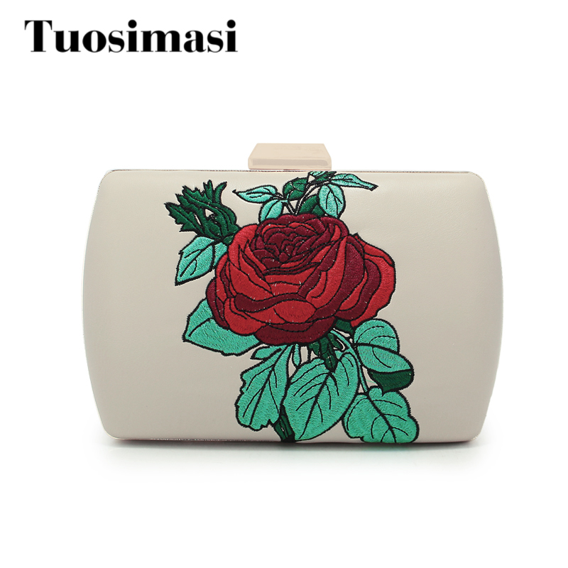 Fashion PU Evening Bag Women Luxury Day Clutch Red Dinner Party Hand Bags Bridal Wedding Flower Pattern Bags(C1112)