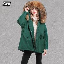 Fitaylor mujeres grandes naturales chaquetas de piel de mapache 90% de pato  blanco abajo Parkas invierno suelta con capucha niev. 4b9be4ce1114e