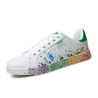 Boys Brand White Shoes Mix Colors Ink Painting Mens Shoes Black Blue Green Color Mans Flats