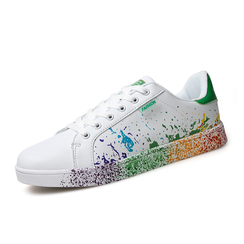 boys white skate shoes mix colors ink painting mens shoes colorful mans flats shoes lace up extra large size US 11 12 Euro 45 46