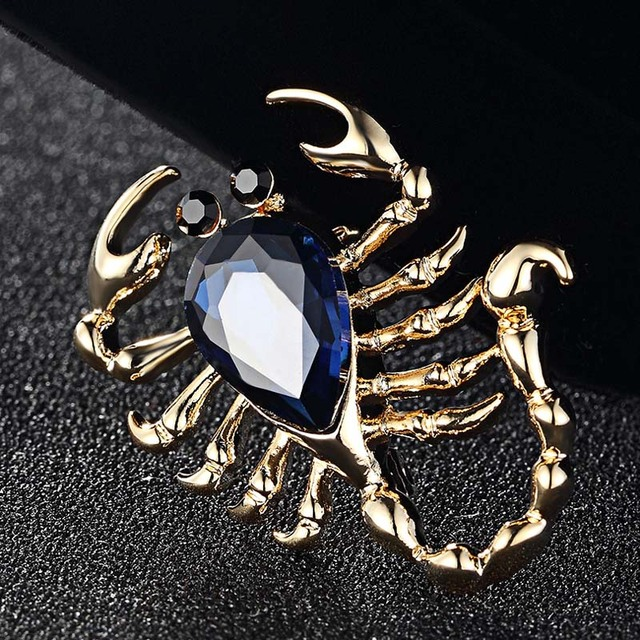 Blucome Scorpion Brooches For Men Jewelry Collares rhinestone Crystal Pin  Brooch Women Anniversary Jewelry Insect Hijab 677ce9aa6913