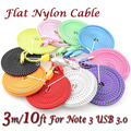 1000pcs/lot 3M/10FT Flat Braided Faribic Woven Micro USB 3.0 Sync Data Charging Cable for Samsung Galaxy S5 Note3 N9000 S6 S7