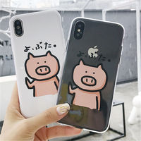 100pcs Cartoon Pig Print Pattern Phone Case For iphone X Case For iphone 6 6S 5 5s 7 8 plus Soft TPU Back Cover Couple Cases
