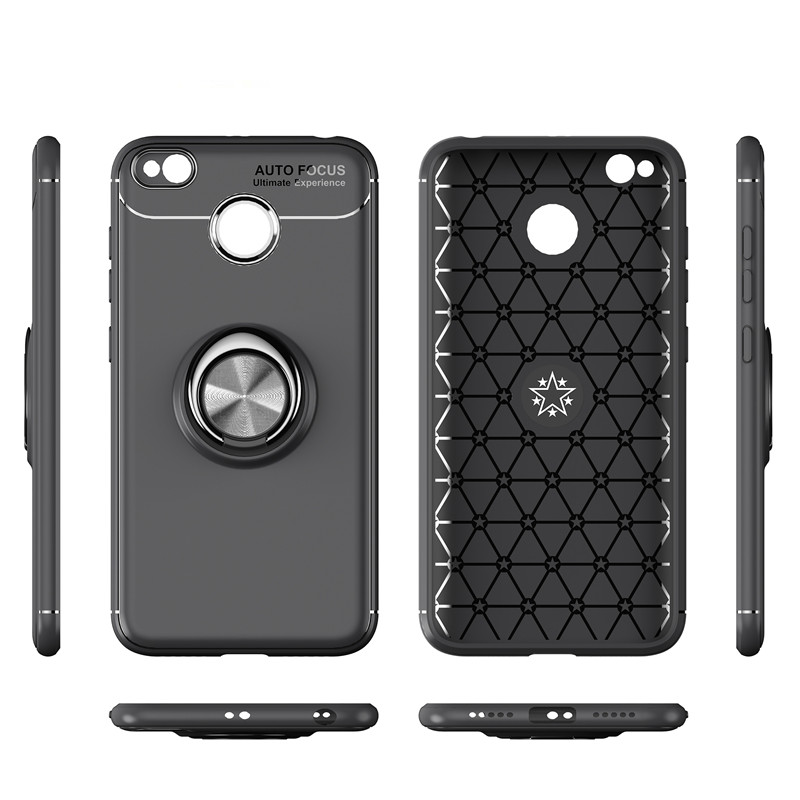 , Phone Cases For Xiaomi Redmi 4X Stand Magnetic Bracket Finger Ring cqoue Redmi 4X Phone Cover For Redmi 4X Brushed Carbon Fiber