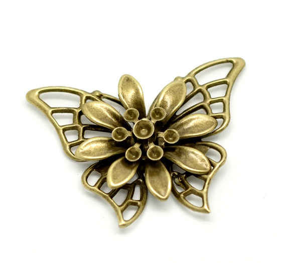 Alloy Embellishments Findings Butterfly Antique Bronze Flower Pattern 4.5cm(1 6/8