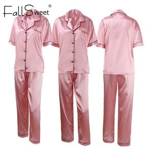 Image 3 - FallSweet Women Pajamas Sets  Silk Solid Sleepwear Pyjamas Plus Size V Neck Nigtwear Sets 5XL