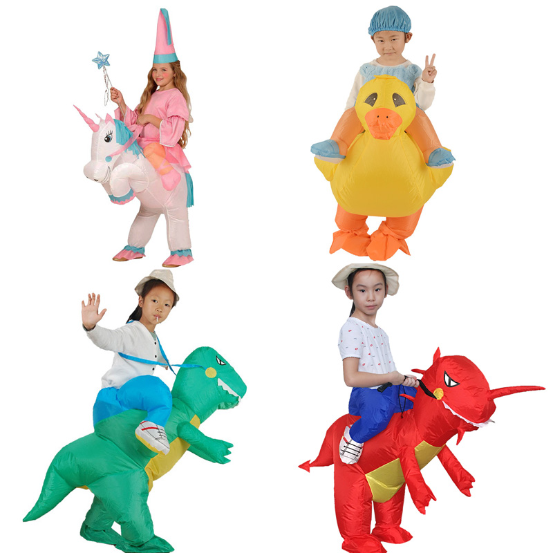 Unicorn Dragon Children T-rex Inflatable Kids Costume Ride-on Animal Outfit for Child Cosplay Baby Girls Boys Clothes Party Toys donald trump costume for adults inflatable funny costume holiday clothing ride on cosplay party carnival airblown clothing 10 23