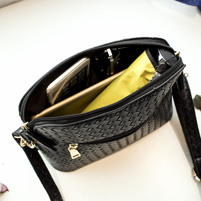 Hot Sale High Quality Knitting PU leather Women Shoulder Bag Double Zipper School Style Women Bags Small Women Messenger Bag