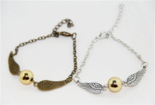 ZRM HP Golden Snitch Pocket Bracelet Quidditch Ball Antique Silver Wings Vintage SteamPunk Fashion Movie Jewelry Men Women