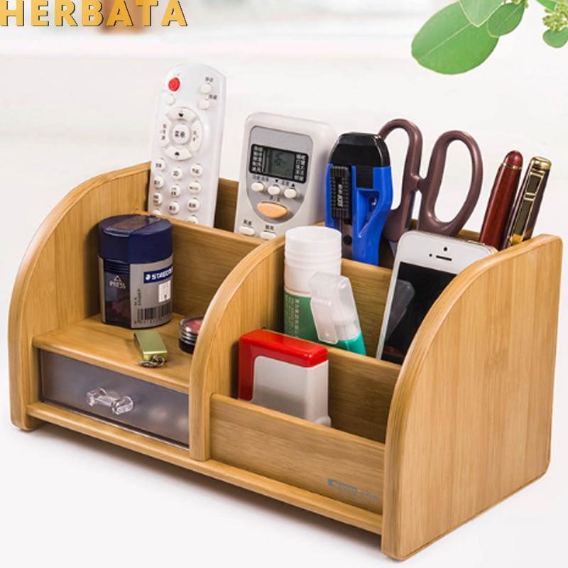 Pen holder desk new fashion multi function Bamboo Made desk storage box office supplies stationery pen box pens holder set