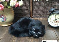 creative simulation sleeping cat toy polyethylene&furs black cat doll 21x17cm s2909