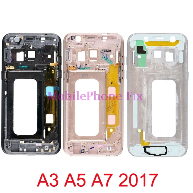 LCD Front Frame Bezel Housing For Samsung Galaxy A5 A7 2017 A520F A720F Middle Outer Frame+Power Volume Side Button