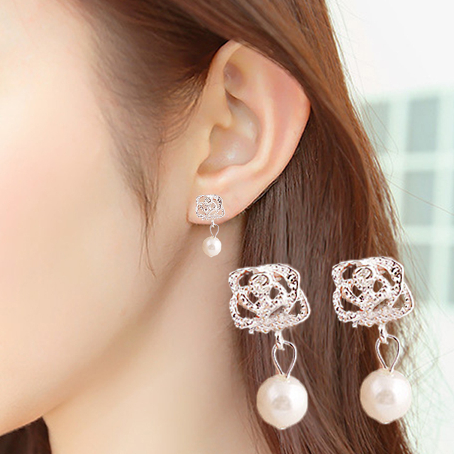 1 Paia di Cristallo Caldo Rosa Bianco Olivet Affascinante Signora Girl Delle Don
