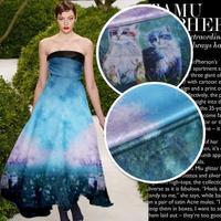 LEO LIN 2017 Top Persian Neoclassical Blue Dream Digital Printing Chinese 100 Silk Fabric Dress Elastic
