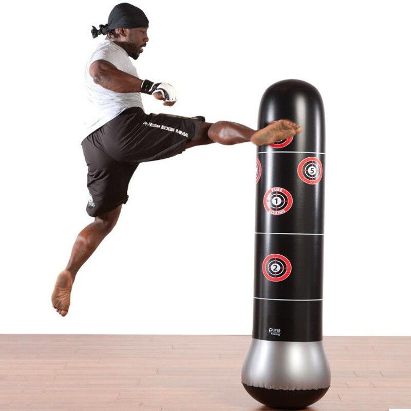 160CM géant entraînement Fitness boxe gonflable sac de boxe aéré Irrigation sable combat sol sac de sable gobelet pression Ballon