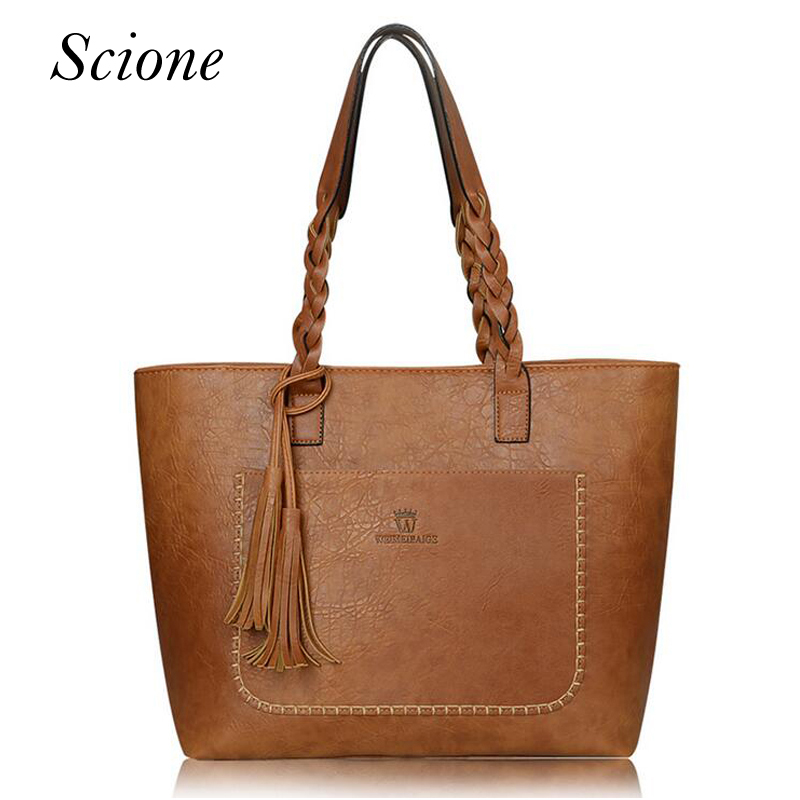 2017 Famous Brand Leather Handbag Bolsas Mujer Large Vintage Tassel Shoulder Bags Women Shopping Tote Bag Purse sac a main Li533 rivet bag for women casual large capacity tote handbag horizontal vertical type useful shopping bag necessity sac bolsas new2015