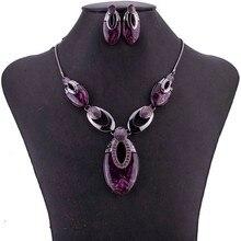 MS1505022Tear Drop дизайнерский ювелирный набор, не содержит свинец и никель, высокое качество, женское ожерелье, серьги, набор, антикварное покрытое фиолетовое ожерелье