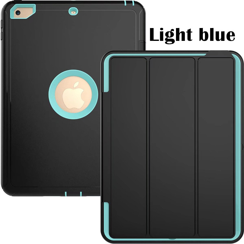 Light blue Heavy smart case with 3stand for iPad 9.7 (2017, 2018, A1822, A1893)