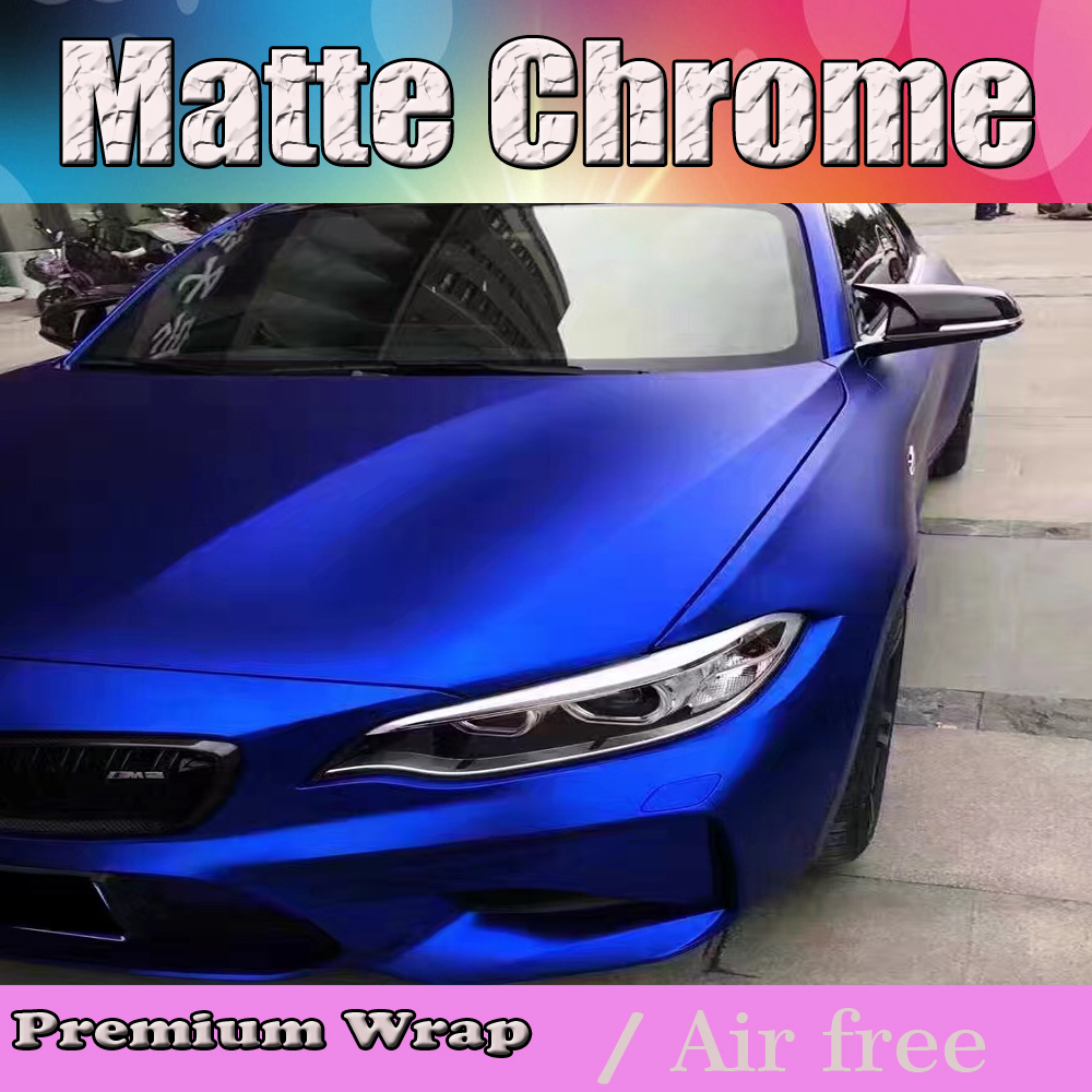 Luxury Blue Matte Chrome Vinyl Wrap Car Wrapping Film For Vehicle Auto Wire Harness Styling With Air Rlease Matt Cast Foil 152x20m Roll