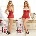 Mulheres Lingerie Costume De Natal Sexy Ladies Red Fantasia Lingerie de Renda Conjunto de lingerie sexy G-corda Negligee Camisola AFUMAN SD006