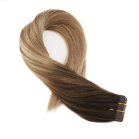 Moresoo Tape in Hair Extensions Human Hair Remy Brazilian Hair Skin Weft Balayage Ombre Color #4 Fading to Brown and Blonde