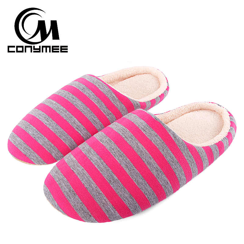 CONYMEE Flats Shoes Women Home Indoor Slippers Soft Plush Cotton Shoes Striped Bedroom Slippers Winter Female Fluffy Slippers