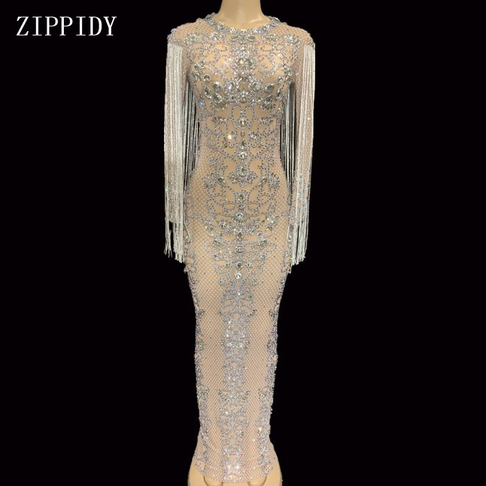 Mesh Perspective Sparkly Crystals Long Dress Evening Party Rhinestones Dresses Birthday Celebrate Costume Fringes Dress YOUDU