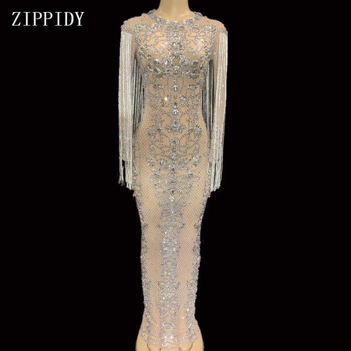 Сетчатые длинные сверкающие кристаллы, вечерние платья со стразами на день рождения, празднование костюма, платье с бахромой YOUDU