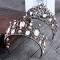 Nova Moda Folha de Cristal Rhinestone Flower Crown pérola Barroca Charme Cabeça Da Noiva Cabelo Acessórios de Jóias de Casamento Presentes Do Partido