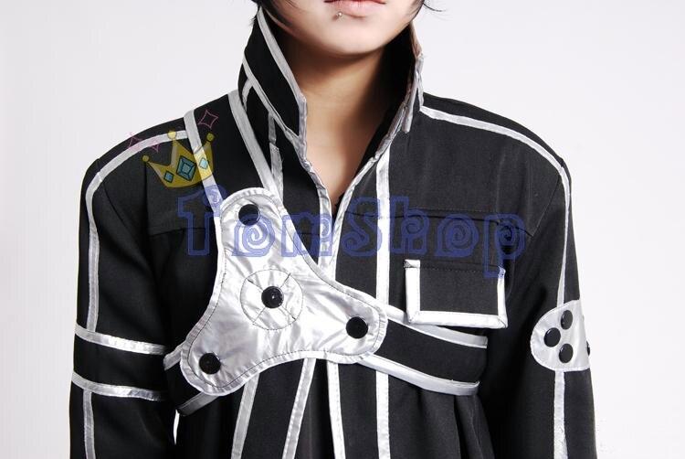 Sword Art Online SAO Kirito Kirigaya Kazuto Cosplay Long Overcoat Jacket Black Cloak Cape Men's Halloween Party Event Costumes