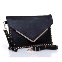 New fashion korean style rivet V shaped envelope clutches leather shoulder cross body bags women famous