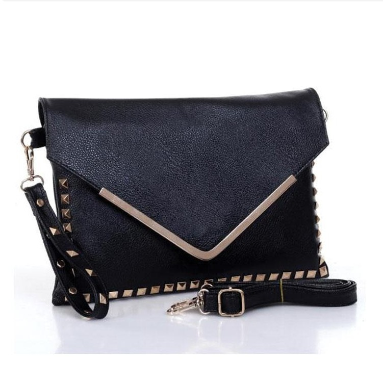 New fashion korean style rivet V shaped envelope clutches leather shoulder cross body font b bags