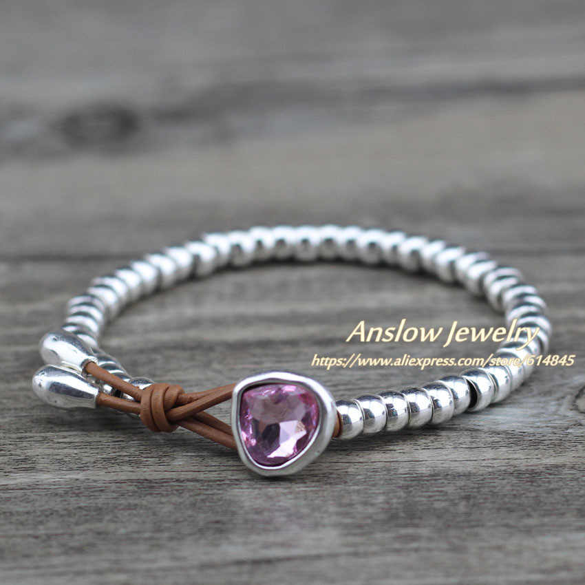 Anslow תכשיטים זול חמוד רומנטי קריסטל לב זוג קוריאני בעבודת יד גדיל חרוזים צמיד ידידות מתנה LOW0732LB